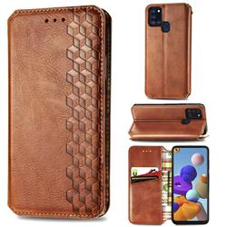 Ultra Slim Fashion Business Card Magnetic Automatic Suction Leather Flip Cover for Samsung Galaxy A21s - Brown