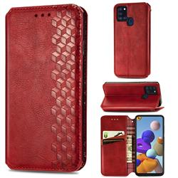 Ultra Slim Fashion Business Card Magnetic Automatic Suction Leather Flip Cover for Samsung Galaxy A21s - Red