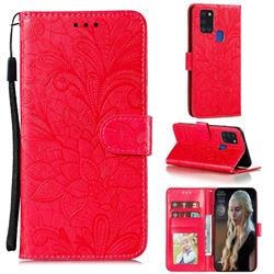 Intricate Embossing Lace Jasmine Flower Leather Wallet Case for Samsung Galaxy A21s - Red