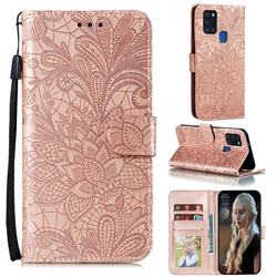 Intricate Embossing Lace Jasmine Flower Leather Wallet Case for Samsung Galaxy A21s - Rose Gold