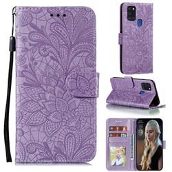 Intricate Embossing Lace Jasmine Flower Leather Wallet Case for Samsung Galaxy A21s - Purple
