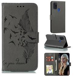 Intricate Embossing Lychee Feather Bird Leather Wallet Case for Samsung Galaxy A21s - Gray