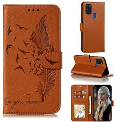 Intricate Embossing Lychee Feather Bird Leather Wallet Case for Samsung Galaxy A21s - Brown
