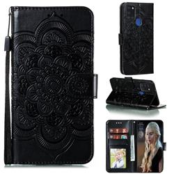Intricate Embossing Datura Solar Leather Wallet Case for Samsung Galaxy A21s - Black