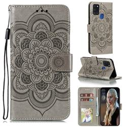 Intricate Embossing Datura Solar Leather Wallet Case for Samsung Galaxy A21s - Gray