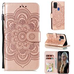 Intricate Embossing Datura Solar Leather Wallet Case for Samsung Galaxy A21s - Rose Gold