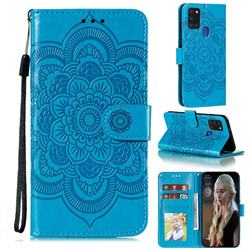 Intricate Embossing Datura Solar Leather Wallet Case for Samsung Galaxy A21s - Blue