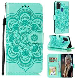 Intricate Embossing Datura Solar Leather Wallet Case for Samsung Galaxy A21s - Green