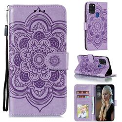 Intricate Embossing Datura Solar Leather Wallet Case for Samsung Galaxy A21s - Purple