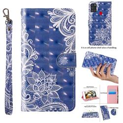 White Lace 3D Painted Leather Wallet Case for Samsung Galaxy A21s