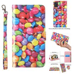 Colorful Jelly Beans 3D Painted Leather Wallet Case for Samsung Galaxy A21s