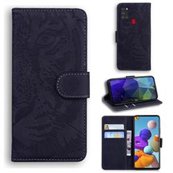 Intricate Embossing Tiger Face Leather Wallet Case for Samsung Galaxy A21s - Black