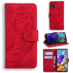 Intricate Embossing Tiger Face Leather Wallet Case for Samsung Galaxy A21s - Red