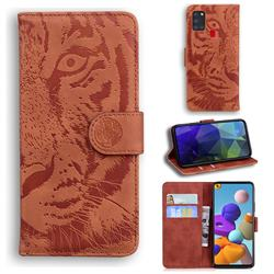 Intricate Embossing Tiger Face Leather Wallet Case for Samsung Galaxy A21s - Brown