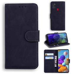 Retro Classic Skin Feel Leather Wallet Phone Case for Samsung Galaxy A21s - Black