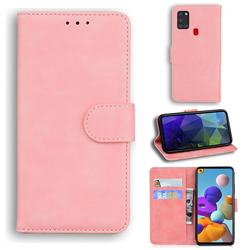 Retro Classic Skin Feel Leather Wallet Phone Case for Samsung Galaxy A21s - Pink