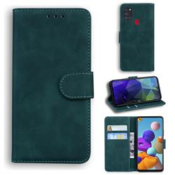 Retro Classic Skin Feel Leather Wallet Phone Case for Samsung Galaxy A21s - Green