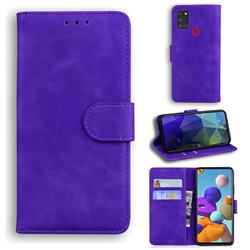 Retro Classic Skin Feel Leather Wallet Phone Case for Samsung Galaxy A21s - Purple