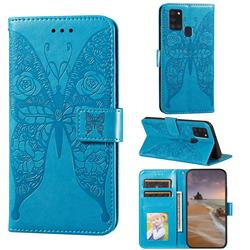 Intricate Embossing Rose Flower Butterfly Leather Wallet Case for Samsung Galaxy A21s - Blue