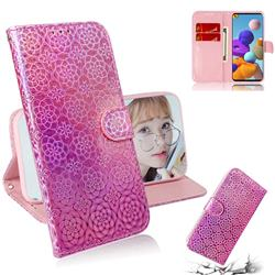 Laser Circle Shining Leather Wallet Phone Case for Samsung Galaxy A21s - Pink