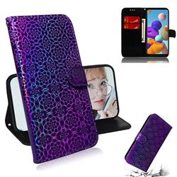 Laser Circle Shining Leather Wallet Phone Case for Samsung Galaxy A21s - Purple