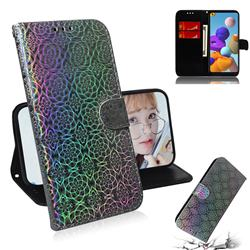 Laser Circle Shining Leather Wallet Phone Case for Samsung Galaxy A21s - Silver