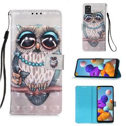 Sweet Gray Owl 3D Painted Leather Wallet Case for Samsung Galaxy A21s