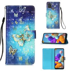 Gold Butterfly 3D Painted Leather Wallet Case for Samsung Galaxy A21s