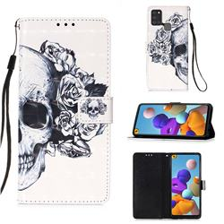 Skull Flower 3D Painted Leather Wallet Case for Samsung Galaxy A21s