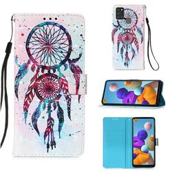 ColorDrops Wind Chimes 3D Painted Leather Wallet Case for Samsung Galaxy A21s