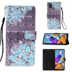 Blue Flower 3D Painted Leather Wallet Case for Samsung Galaxy A21s