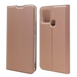 Ultra Slim Card Magnetic Automatic Suction Leather Wallet Case for Samsung Galaxy A21s - Rose Gold