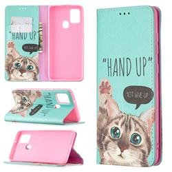 Hand Up Cat Slim Magnetic Attraction Wallet Flip Cover for Samsung Galaxy A21s
