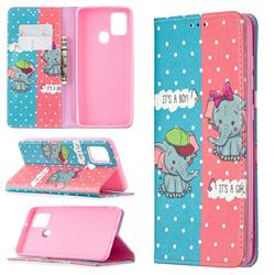 Elephant Boy and Girl Slim Magnetic Attraction Wallet Flip Cover for Samsung Galaxy A21s