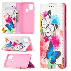 Flying Butterflies Slim Magnetic Attraction Wallet Flip Cover for Samsung Galaxy A21s