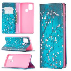 Plum Blossom Slim Magnetic Attraction Wallet Flip Cover for Samsung Galaxy A21s