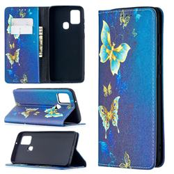 Gold Butterfly Slim Magnetic Attraction Wallet Flip Cover for Samsung Galaxy A21s
