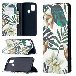 Flower Leaf Slim Magnetic Attraction Wallet Flip Cover for Samsung Galaxy A21s