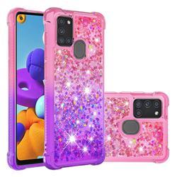 Rainbow Gradient Liquid Glitter Quicksand Sequins Phone Case for Samsung Galaxy A21s - Pink Purple