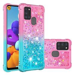 Rainbow Gradient Liquid Glitter Quicksand Sequins Phone Case for Samsung Galaxy A21s - Pink Blue