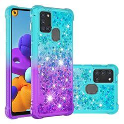 Rainbow Gradient Liquid Glitter Quicksand Sequins Phone Case for Samsung Galaxy A21s - Blue Purple