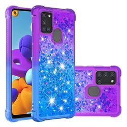 Rainbow Gradient Liquid Glitter Quicksand Sequins Phone Case for Samsung Galaxy A21s - Purple Blue