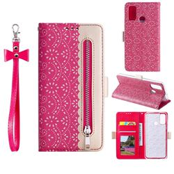 Luxury Lace Zipper Stitching Leather Phone Wallet Case for Samsung Galaxy A21s - Rose