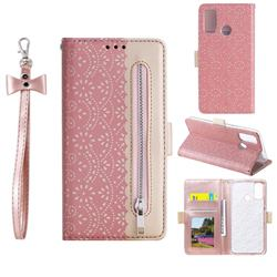 Luxury Lace Zipper Stitching Leather Phone Wallet Case for Samsung Galaxy A21s - Pink