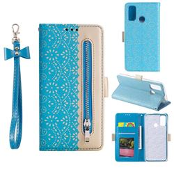 Luxury Lace Zipper Stitching Leather Phone Wallet Case for Samsung Galaxy A21s - Blue
