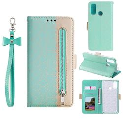Luxury Lace Zipper Stitching Leather Phone Wallet Case for Samsung Galaxy A21s - Green