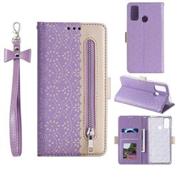 Luxury Lace Zipper Stitching Leather Phone Wallet Case for Samsung Galaxy A21s - Purple
