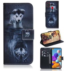 Wolf and Dog PU Leather Wallet Case for Samsung Galaxy A21s