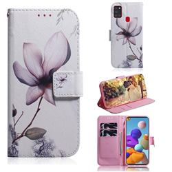 Magnolia Flower PU Leather Wallet Case for Samsung Galaxy A21s