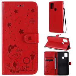 Embossing Bee and Cat Leather Wallet Case for Samsung Galaxy A21s - Red